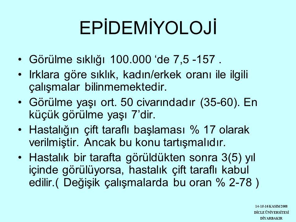 EPİDEMİYOLOJİ Görülme sıklığı 100.000 'de 7,5 -157.