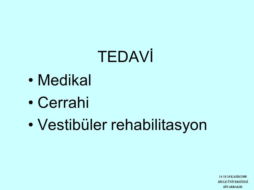 TEDAVİ Medikal Cerrahi Vestibüler rehabilitasyon 14-15-16 KASIM 2008 DİCLE ÜNİVERSİTESİ DİYARBAKIR