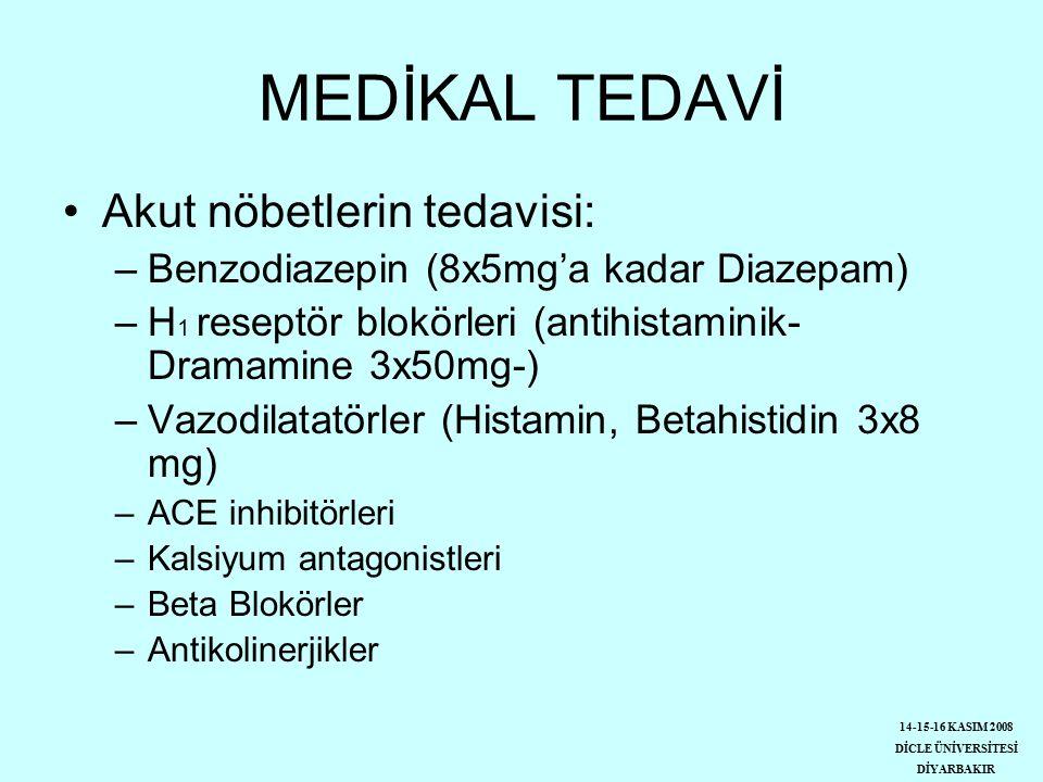 MEDİKAL TEDAVİ Akut nöbetlerin tedavisi: –Benzodiazepin (8x5mg'a kadar Diazepam) –H 1 reseptör blokörleri (antihistaminik- Dramamine 3x50mg-) –Vazodilatatörler (Histamin, Betahistidin 3x8 mg) –ACE inhibitörleri –Kalsiyum antagonistleri –Beta Blokörler –Antikolinerjikler 14-15-16 KASIM 2008 DİCLE ÜNİVERSİTESİ DİYARBAKIR