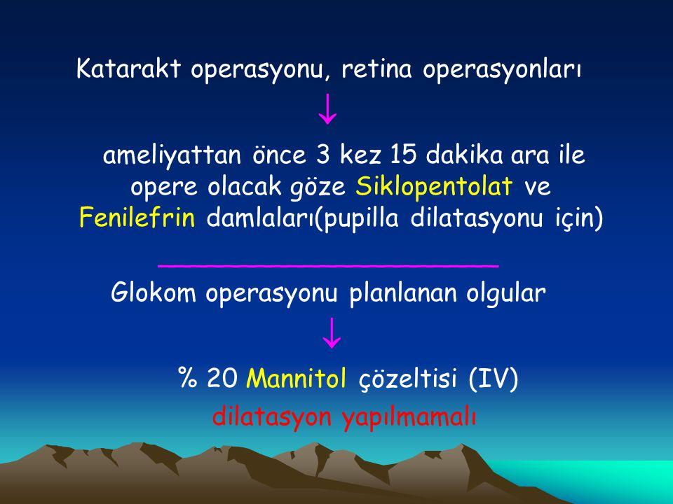 Katarakt operasyonu, retina operasyonları  ameliyattan önce 3 kez 15 dakika ara ile opere olacak göze Siklopentolat ve Fenilefrin damlaları(pupilla d