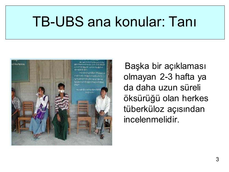 TB-UBS ana konular: Tanı Başka bir açıklaması olmayan 2-3 hafta ya da daha uzun süreli öksürüğü olan herkes tüberküloz açısından incelenmelidir.