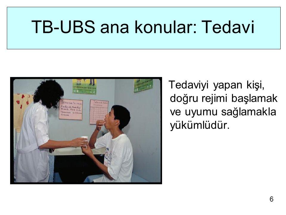 TB-UBS ana konular: Tedavi Tedaviyi yapan kişi, doğru rejimi başlamak ve uyumu sağlamakla yükümlüdür.