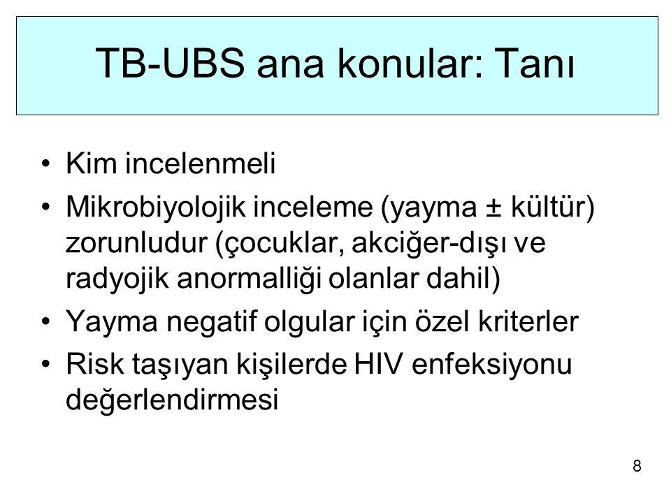 TB-UBS ana konular: Tanı Kim incelenmeli Mikrobiyolojik inceleme (yayma ± kültür) zorunludur (çocuklar, akciğer-dışı ve radyojik anormalliği olanlar dahil) Yayma negatif olgular için özel kriterler Risk taşıyan kişilerde HIV enfeksiyonu değerlendirmesi 8