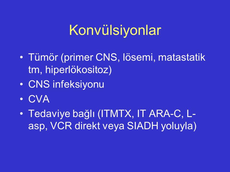 Konvülsiyonlar Tümör (primer CNS, lösemi, matastatik tm, hiperlökositoz) CNS infeksiyonu CVA Tedaviye bağlı (ITMTX, IT ARA-C, L- asp, VCR direkt veya