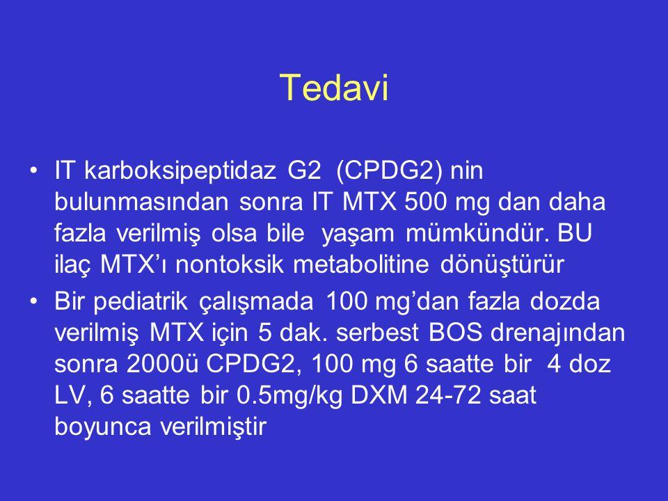 Tedavi IT karboksipeptidaz G2 (CPDG2) nin bulunmasından sonra IT MTX 500 mg dan daha fazla verilmiş olsa bile yaşam mümkündür. BU ilaç MTX'ı nontoksik
