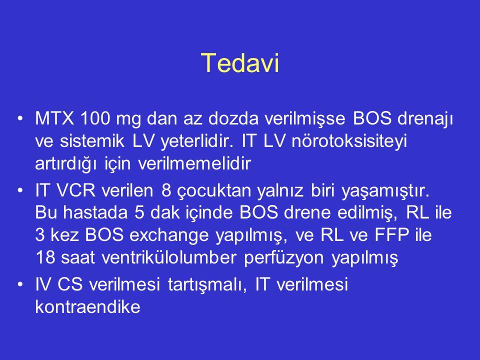 MTX 100 mg dan az dozda verilmişse BOS drenajı ve sistemik LV yeterlidir. IT LV nörotoksisiteyi artırdığı için verilmemelidir IT VCR verilen 8 çocukta