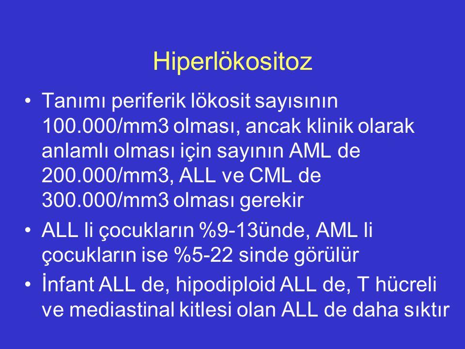 Hiperlökositoz Tanımı periferik lökosit sayısının 100.000/mm3 olması, ancak klinik olarak anlamlı olması için sayının AML de 200.000/mm3, ALL ve CML d