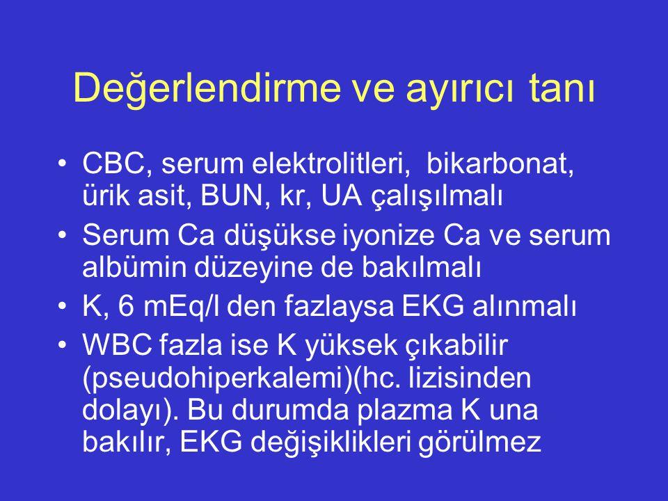 Değerlendirme ve ayırıcı tanı CBC, serum elektrolitleri, bikarbonat, ürik asit, BUN, kr, UA çalışılmalı Serum Ca düşükse iyonize Ca ve serum albümin d