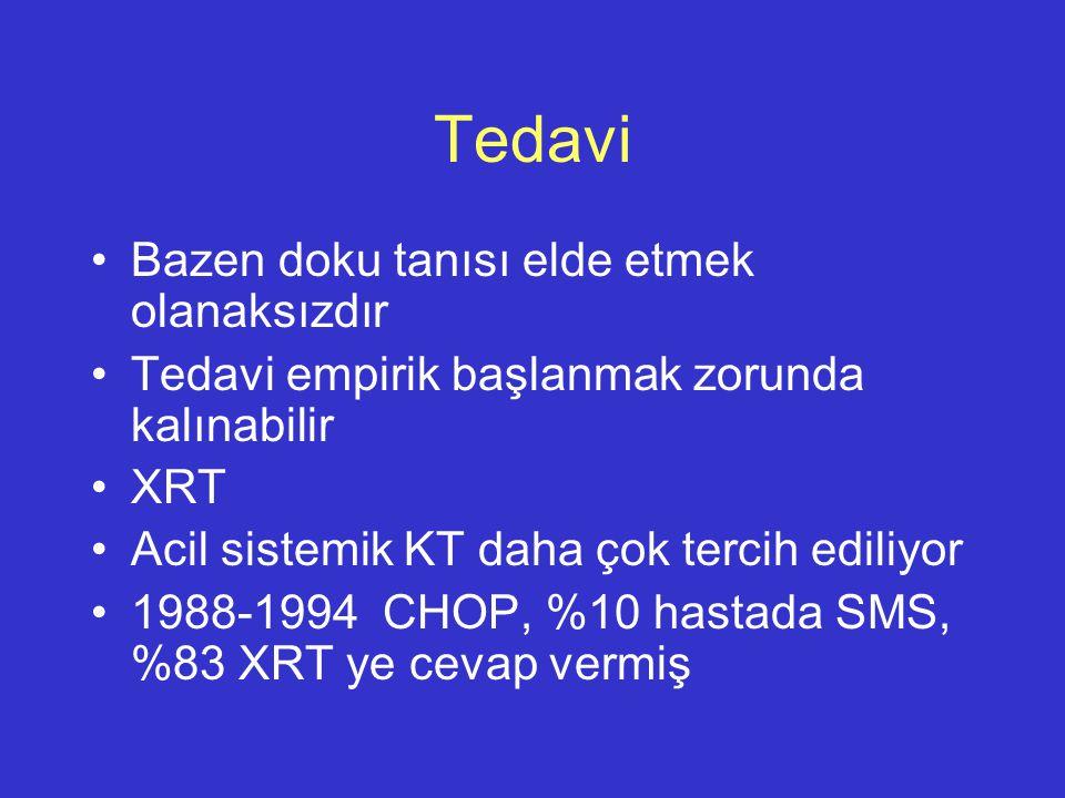 Tedavi Bazen doku tanısı elde etmek olanaksızdır Tedavi empirik başlanmak zorunda kalınabilir XRT Acil sistemik KT daha çok tercih ediliyor 1988-1994