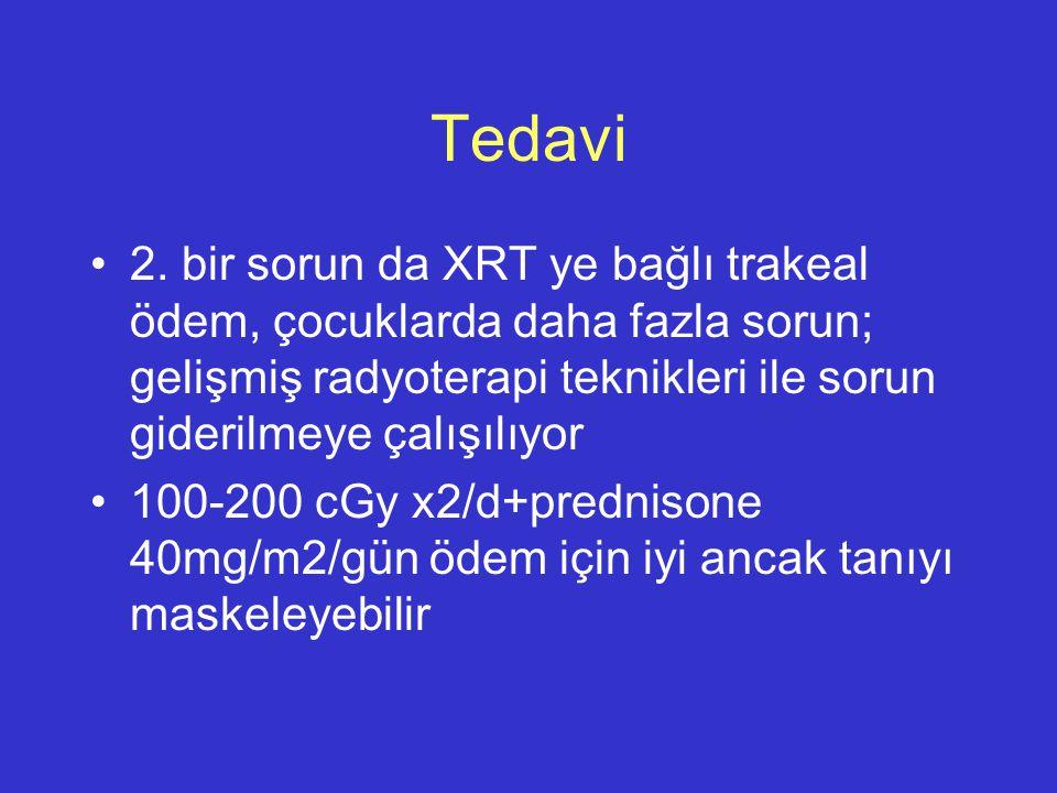Tedavi 2. bir sorun da XRT ye bağlı trakeal ödem, çocuklarda daha fazla sorun; gelişmiş radyoterapi teknikleri ile sorun giderilmeye çalışılıyor 100-2
