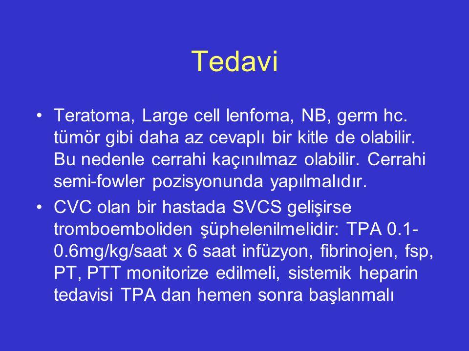 Tedavi Teratoma, Large cell lenfoma, NB, germ hc. tümör gibi daha az cevaplı bir kitle de olabilir. Bu nedenle cerrahi kaçınılmaz olabilir. Cerrahi se