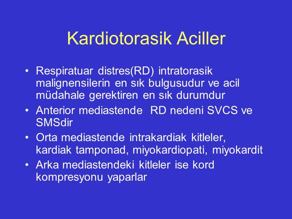 Kardiotorasik Aciller Respiratuar distres(RD) intratorasik malignensilerin en sık bulgusudur ve acil müdahale gerektiren en sık durumdur Anterior medi