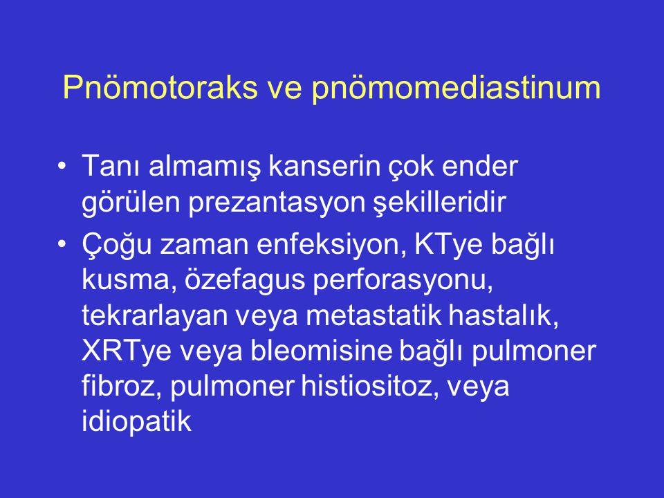 Pnömotoraks ve pnömomediastinum Tanı almamış kanserin çok ender görülen prezantasyon şekilleridir Çoğu zaman enfeksiyon, KTye bağlı kusma, özefagus pe