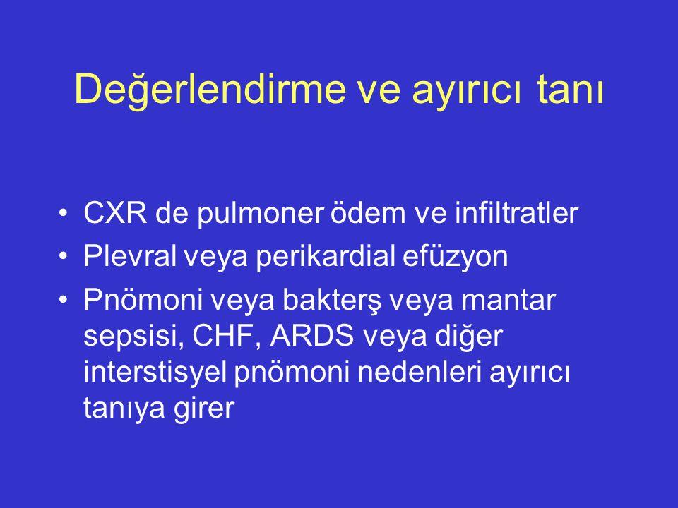 Değerlendirme ve ayırıcı tanı CXR de pulmoner ödem ve infiltratler Plevral veya perikardial efüzyon Pnömoni veya bakterş veya mantar sepsisi, CHF, ARD
