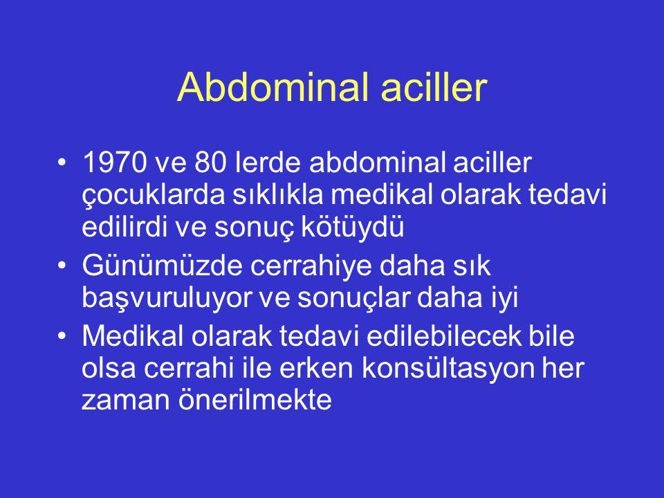 Abdominal aciller 1970 ve 80 lerde abdominal aciller çocuklarda sıklıkla medikal olarak tedavi edilirdi ve sonuç kötüydü Günümüzde cerrahiye daha sık