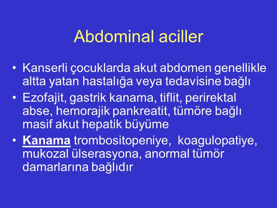 Abdominal aciller Kanserli çocuklarda akut abdomen genellikle altta yatan hastalığa veya tedavisine bağlı Ezofajit, gastrik kanama, tiflit, perirektal