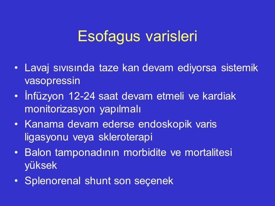 Esofagus varisleri Lavaj sıvısında taze kan devam ediyorsa sistemik vasopressin İnfüzyon 12-24 saat devam etmeli ve kardiak monitorizasyon yapılmalı K