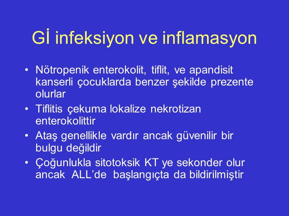 Gİ infeksiyon ve inflamasyon Nötropenik enterokolit, tiflit, ve apandisit kanserli çocuklarda benzer şekilde prezente olurlar Tiflitis çekuma lokalize