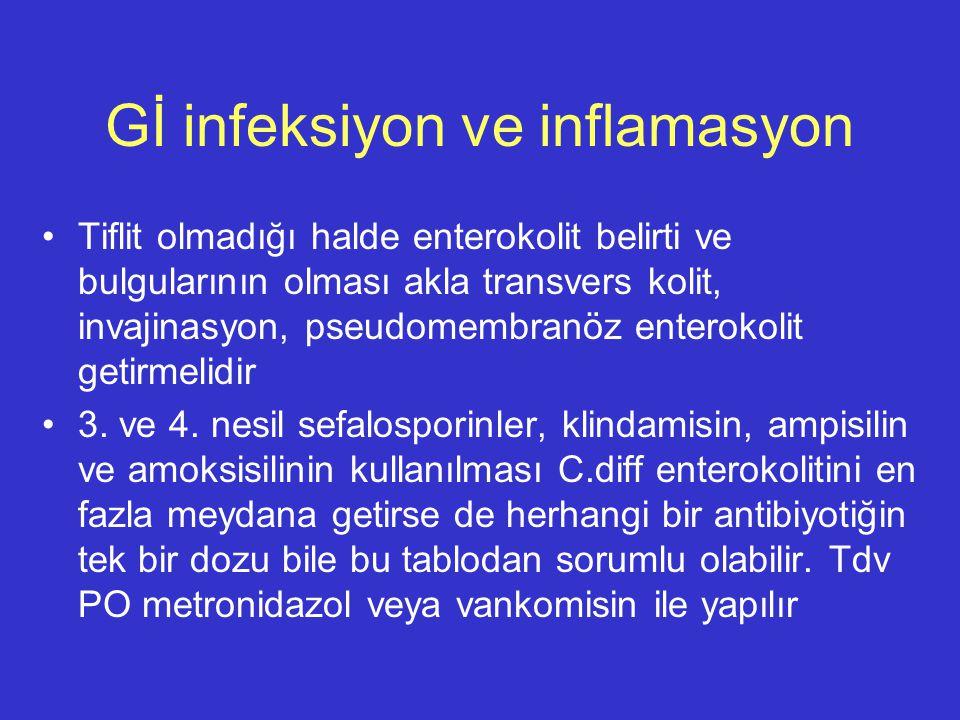 Gİ infeksiyon ve inflamasyon Tiflit olmadığı halde enterokolit belirti ve bulgularının olması akla transvers kolit, invajinasyon, pseudomembranöz ente