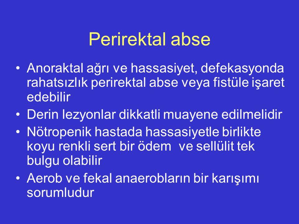 Perirektal abse Anoraktal ağrı ve hassasiyet, defekasyonda rahatsızlık perirektal abse veya fistüle işaret edebilir Derin lezyonlar dikkatli muayene e