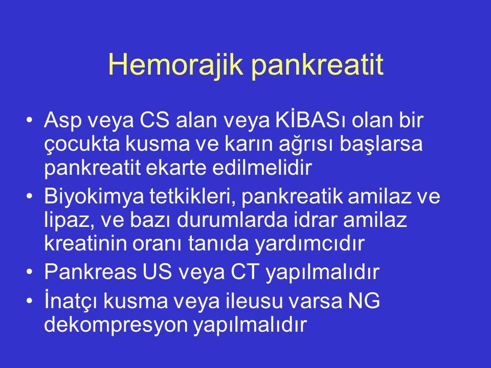 Hemorajik pankreatit Asp veya CS alan veya KİBASı olan bir çocukta kusma ve karın ağrısı başlarsa pankreatit ekarte edilmelidir Biyokimya tetkikleri,