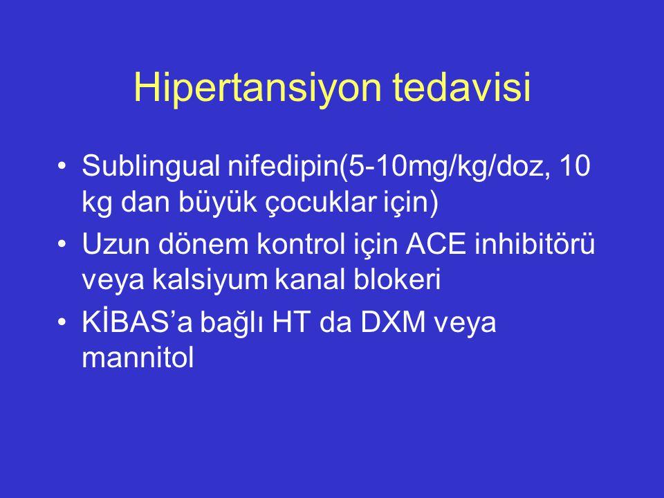 Hipertansiyon tedavisi Sublingual nifedipin(5-10mg/kg/doz, 10 kg dan büyük çocuklar için) Uzun dönem kontrol için ACE inhibitörü veya kalsiyum kanal b