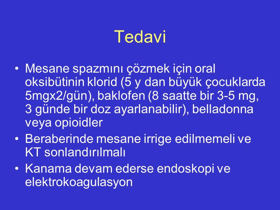 Tedavi Mesane spazmını çözmek için oral oksibütinin klorid (5 y dan büyük çocuklarda 5mgx2/gün), baklofen (8 saatte bir 3-5 mg, 3 günde bir doz ayarla