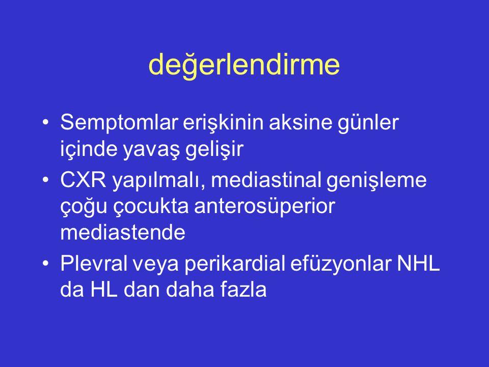 değerlendirme Semptomlar erişkinin aksine günler içinde yavaş gelişir CXR yapılmalı, mediastinal genişleme çoğu çocukta anterosüperior mediastende Ple