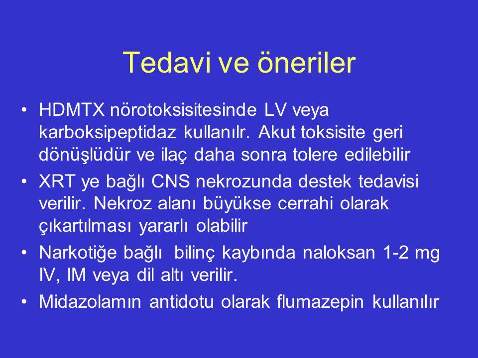 Tedavi ve öneriler HDMTX nörotoksisitesinde LV veya karboksipeptidaz kullanılr. Akut toksisite geri dönüşlüdür ve ilaç daha sonra tolere edilebilir XR