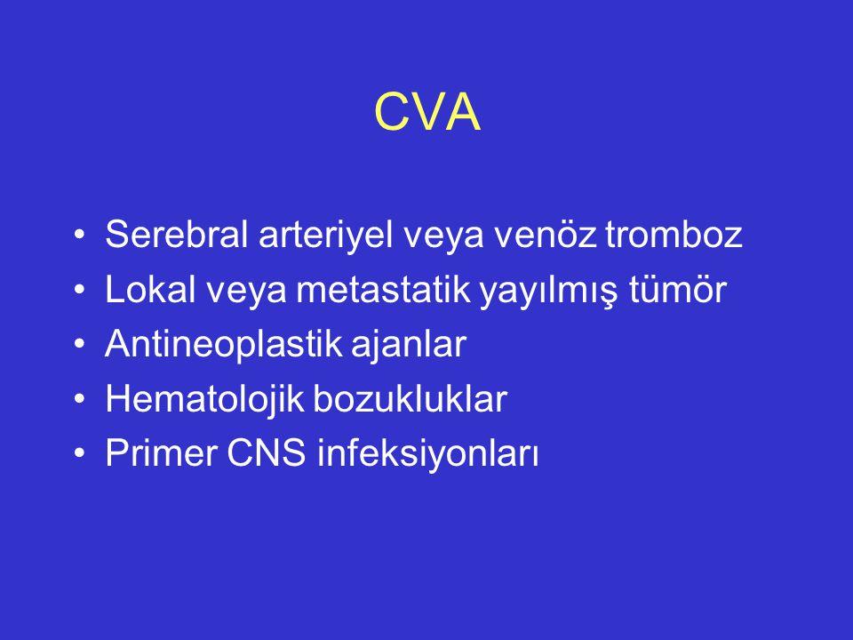 CVA Serebral arteriyel veya venöz tromboz Lokal veya metastatik yayılmış tümör Antineoplastik ajanlar Hematolojik bozukluklar Primer CNS infeksiyonlar