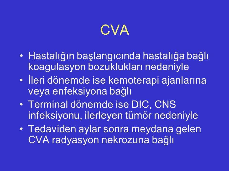 CVA Hastalığın başlangıcında hastalığa bağlı koagulasyon bozuklukları nedeniyle İleri dönemde ise kemoterapi ajanlarına veya enfeksiyona bağlı Termina