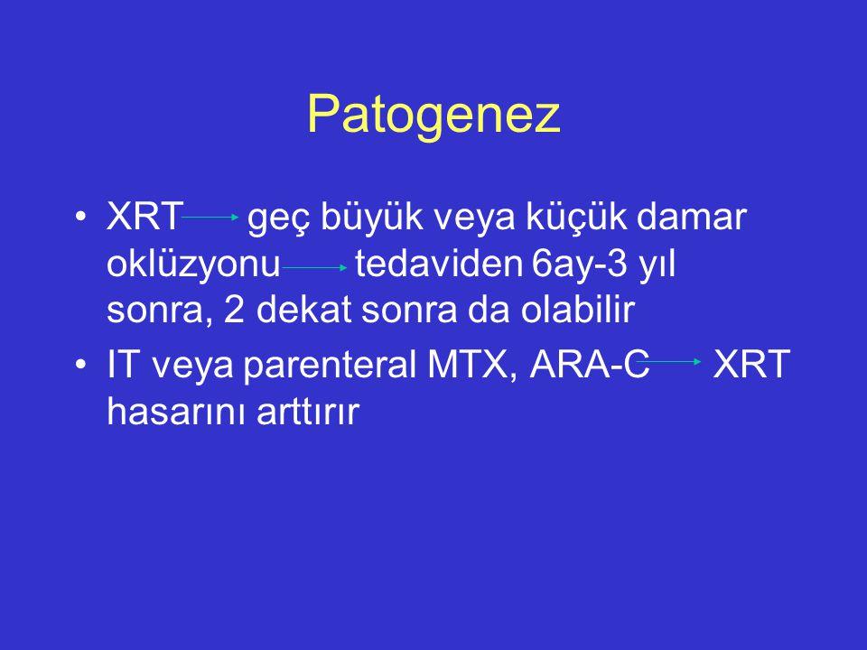 Patogenez XRT geç büyük veya küçük damar oklüzyonu tedaviden 6ay-3 yıl sonra, 2 dekat sonra da olabilir IT veya parenteral MTX, ARA-C XRT hasarını art