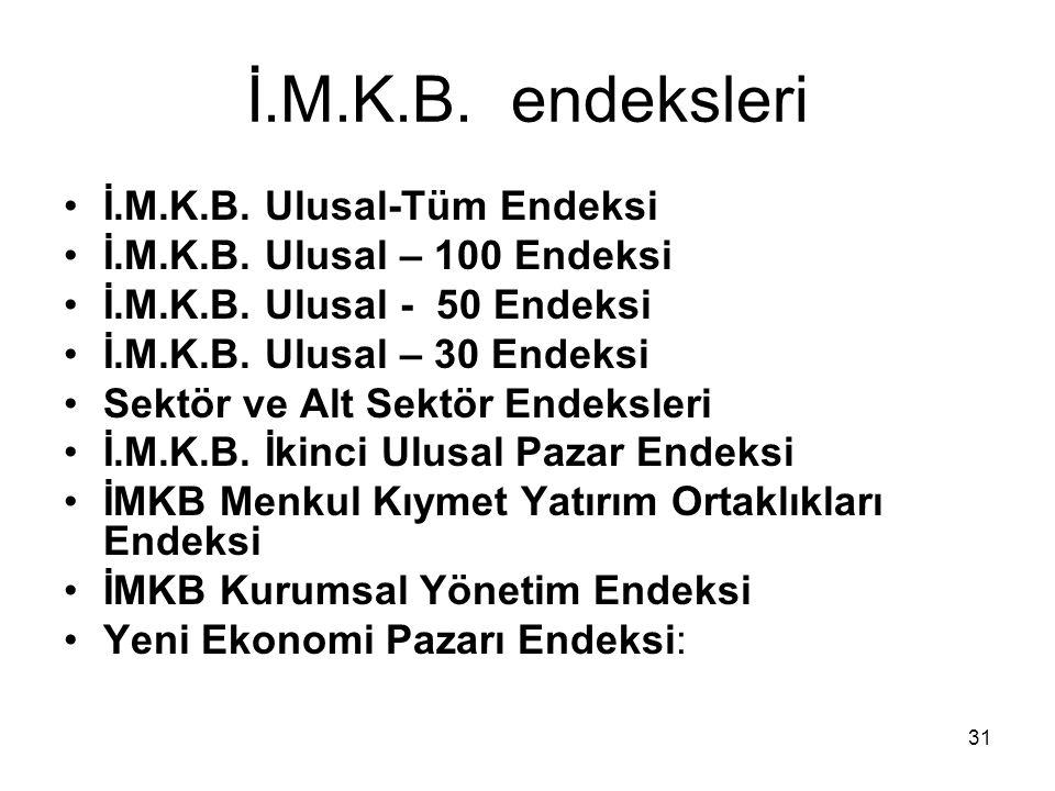 31 İ.M.K.B. endeksleri İ.M.K.B. Ulusal-Tüm Endeksi İ.M.K.B. Ulusal – 100 Endeksi İ.M.K.B. Ulusal - 50 Endeksi İ.M.K.B. Ulusal – 30 Endeksi Sektör ve A