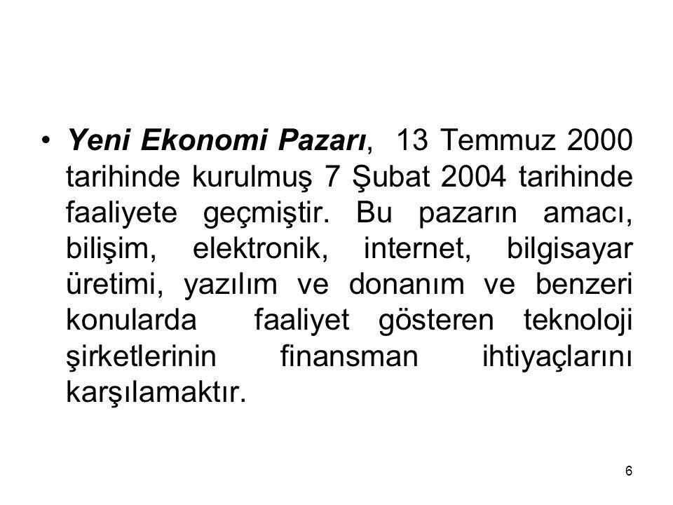 6 Yeni Ekonomi Pazarı, 13 Temmuz 2000 tarihinde kurulmuş 7 Şubat 2004 tarihinde faaliyete geçmiştir. Bu pazarın amacı, bilişim, elektronik, internet,