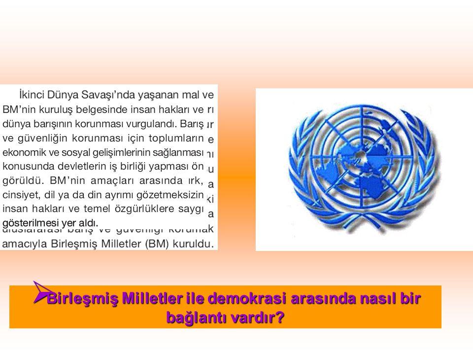  Birleşmiş Milletler ile demokrasi arasında nasıl bir bağlantı vardır?