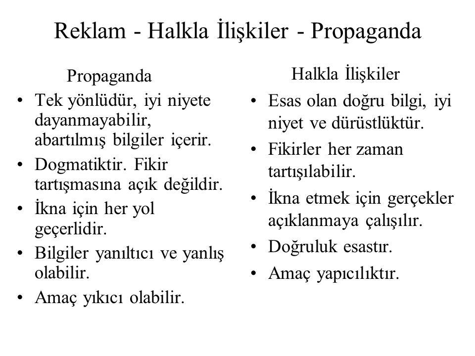 Reklam - Halkla İlişkiler - Propaganda Propaganda Tek yönlüdür, iyi niyete dayanmayabilir, abartılmış bilgiler içerir.
