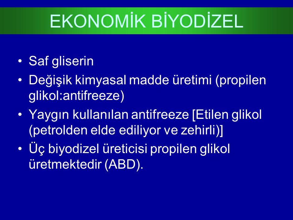 Saf gliserin Değişik kimyasal madde üretimi (propilen glikol:antifreeze) Yaygın kullanılan antifreeze [Etilen glikol (petrolden elde ediliyor ve zehir