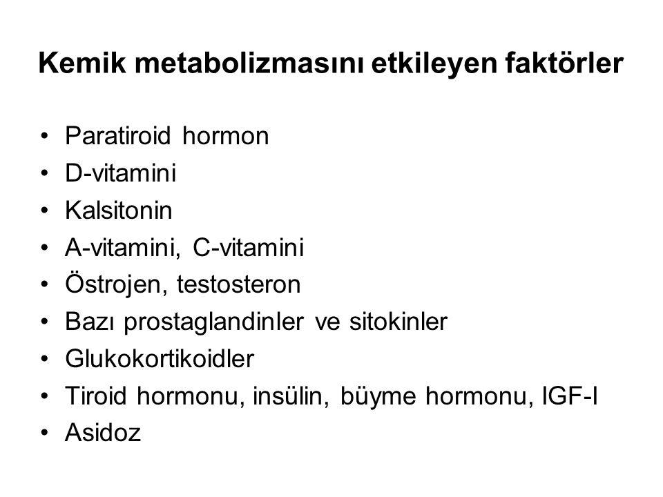 Kemik metabolizmasını etkileyen faktörler Paratiroid hormon D-vitamini Kalsitonin A-vitamini, C-vitamini Östrojen, testosteron Bazı prostaglandinler ve sitokinler Glukokortikoidler Tiroid hormonu, insülin, büyme hormonu, IGF-I Asidoz