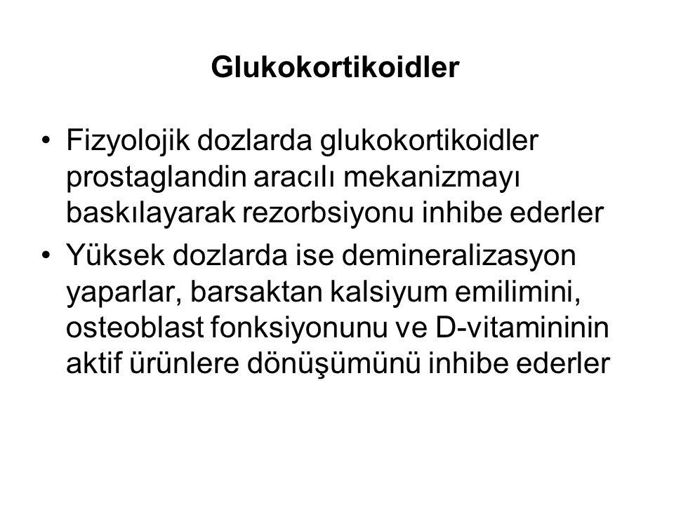 Glukokortikoidler Fizyolojik dozlarda glukokortikoidler prostaglandin aracılı mekanizmayı baskılayarak rezorbsiyonu inhibe ederler Yüksek dozlarda ise demineralizasyon yaparlar, barsaktan kalsiyum emilimini, osteoblast fonksiyonunu ve D-vitamininin aktif ürünlere dönüşümünü inhibe ederler