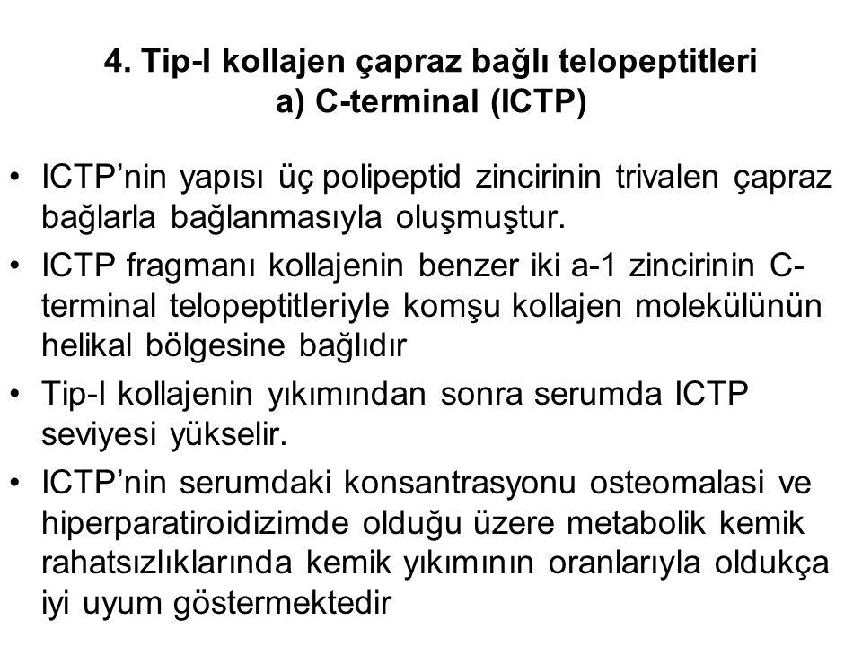 4. Tip-I kollajen çapraz bağlı telopeptitleri a) C-terminal (ICTP) ICTP'nin yapısı üç polipeptid zincirinin trivalen çapraz bağlarla bağlanmasıyla olu