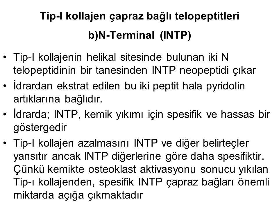 Tip-I kollajen çapraz bağlı telopeptitleri b)N-Terminal (INTP) Tip-I kollajenin helikal sitesinde bulunan iki N telopeptidinin bir tanesinden INTP neopeptidi çıkar İdrardan ekstrat edilen bu iki peptit hala pyridolin artıklarına bağlıdır.