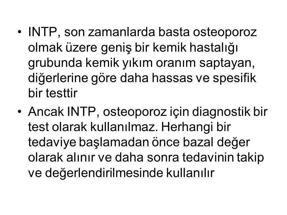 INTP, son zamanlarda basta osteoporoz olmak üzere geniş bir kemik hastalığı grubunda kemik yıkım oranım saptayan, diğerlerine göre daha hassas ve spesifik bir testtir Ancak INTP, osteoporoz için diagnostik bir test olarak kullanılmaz.