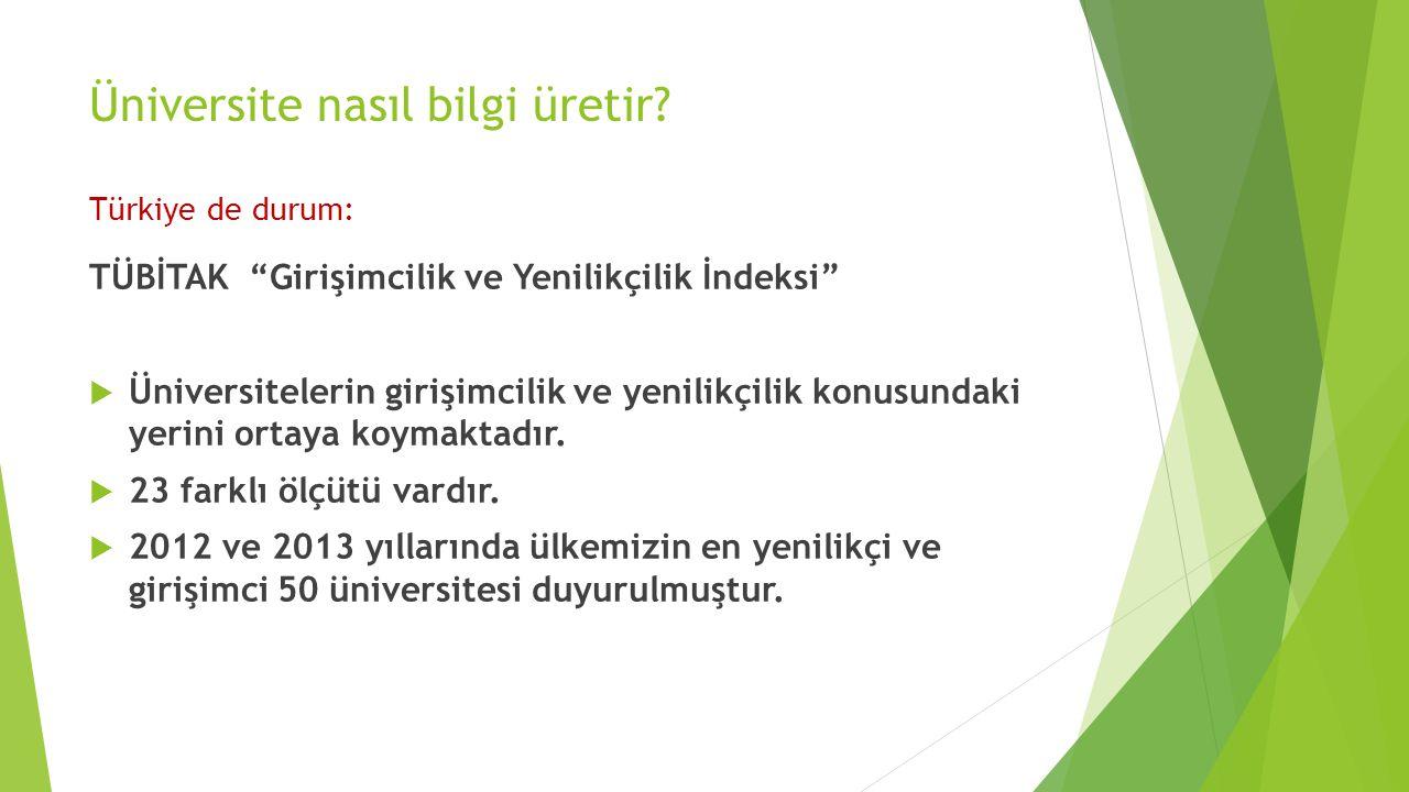 """Üniversite nasıl bilgi üretir? Türkiye de durum: TÜBİTAK """"Girişimcilik ve Yenilikçilik İndeksi""""  Üniversitelerin girişimcilik ve yenilikçilik konusun"""