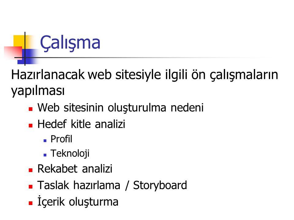 Çalışma Hazırlanacak web sitesiyle ilgili ön çalışmaların yapılması Web sitesinin oluşturulma nedeni Hedef kitle analizi Profil Teknoloji Rekabet analizi Taslak hazırlama / Storyboard İçerik oluşturma