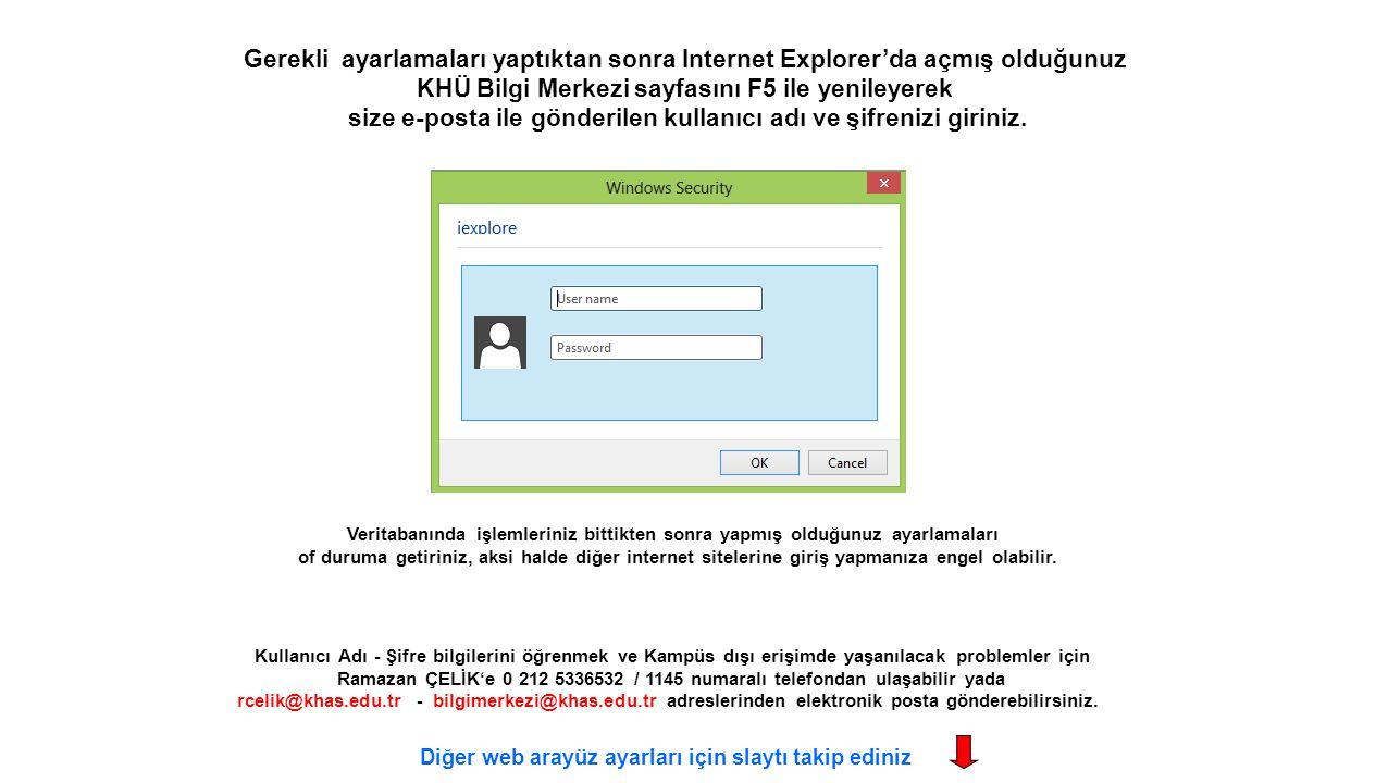 Kullanıcı Adı - Şifre bilgilerini öğrenmek ve Kampüs dışı erişimde yaşanılacak problemler için Ramazan ÇELİK'e 0 212 5336532 / 1145 numaralı telefonda