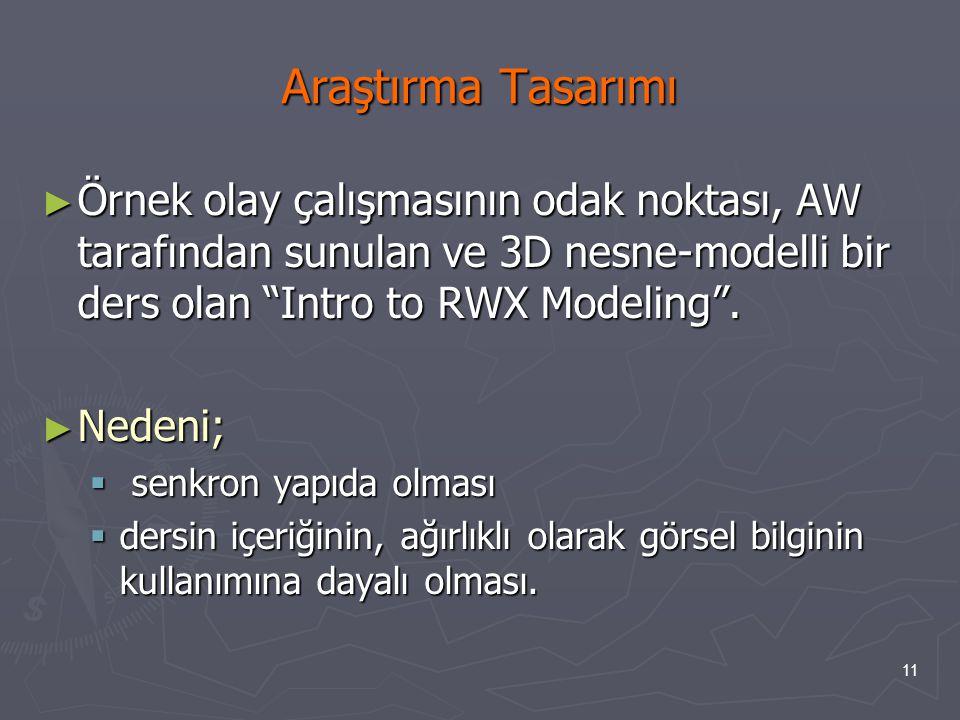 """11 Araştırma Tasarımı ► Örnek olay çalışmasının odak noktası, AW tarafından sunulan ve 3D nesne-modelli bir ders olan """"Intro to RWX Modeling"""". ► Neden"""