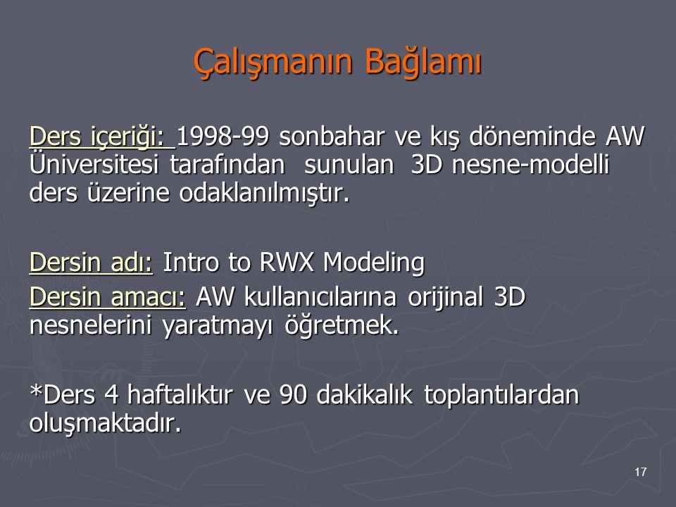 17 Çalışmanın Bağlamı Ders içeriği: 1998-99 sonbahar ve kış döneminde AW Üniversitesi tarafından sunulan 3D nesne-modelli ders üzerine odaklanılmıştır