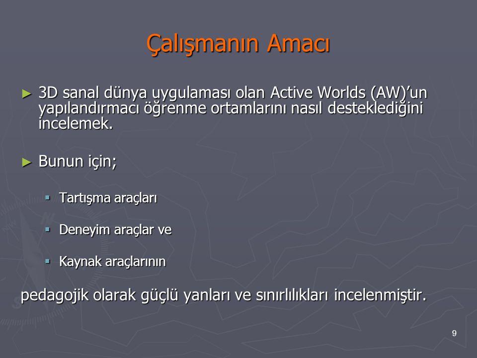 9 Çalışmanın Amacı ► 3D sanal dünya uygulaması olan Active Worlds (AW)'un yapılandırmacı öğrenme ortamlarını nasıl desteklediğini incelemek. ► Bunun i