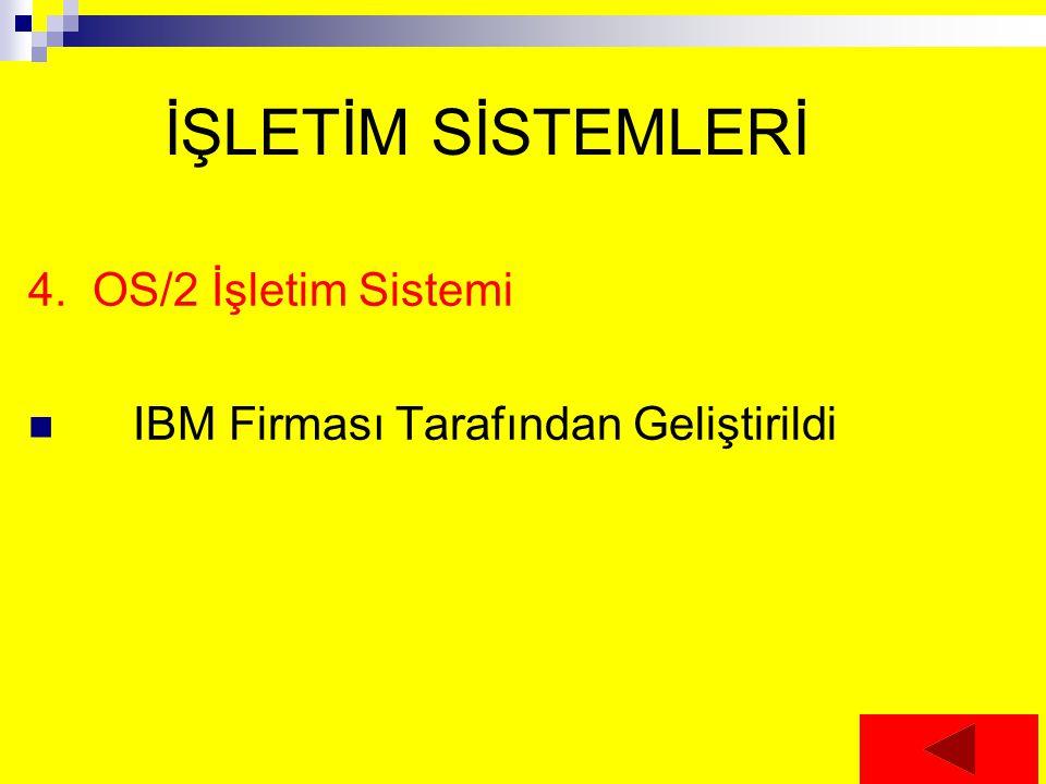 İŞLETİM SİSTEMLERİ 4. OS/2 İşletim Sistemi IBM Firması Tarafından Geliştirildi