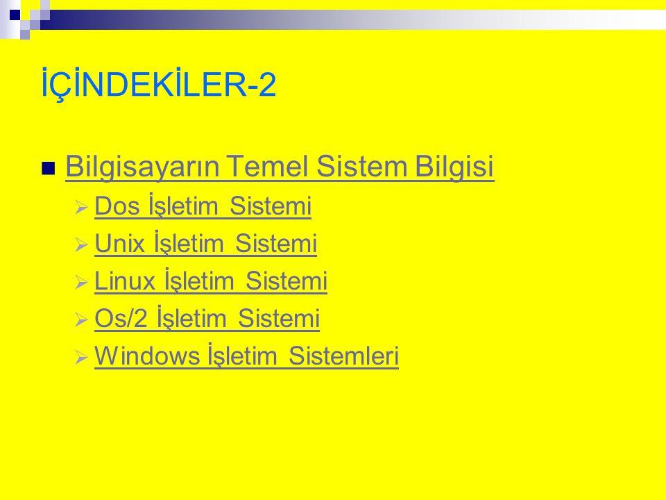 İÇİNDEKİLER-2 Bilgisayarın Temel Sistem Bilgisi  Dos İşletim Sistemi Dos İşletim Sistemi  Unix İşletim Sistemi Unix İşletim Sistemi  Linux İşletim